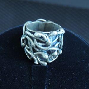 Sz 7.5 Famous RACHEL GERA Sterling Silver Ring